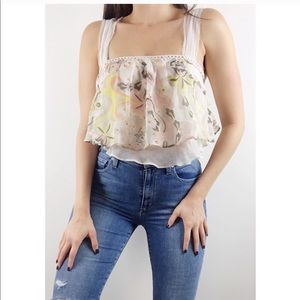 Free People Cropped Open Back Floral Tank Top
